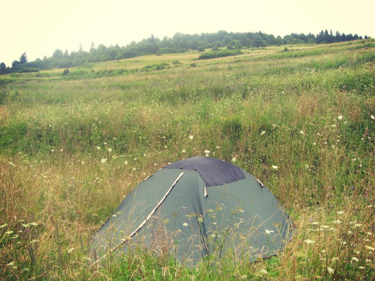 Zelený stan více splývá s okolím.