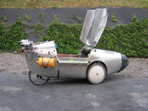 Velomobil s proudovými motory